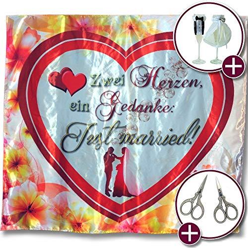 Edles Hochzeitsherz zum Ausschneiden - inkl. Sektglas-Deko + 2 hochwertige Vintage-Scheren: Gelungenes Hochzeitsspiel-Premium-Set, ideales Hochzeitsgeschenk für Brautpaar, just married Hochzeitslaken
