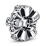 AMATOLOVE - Espaciadores de plata de ley 925 con cuentas de circonita cúbica para pulseras y joyas
