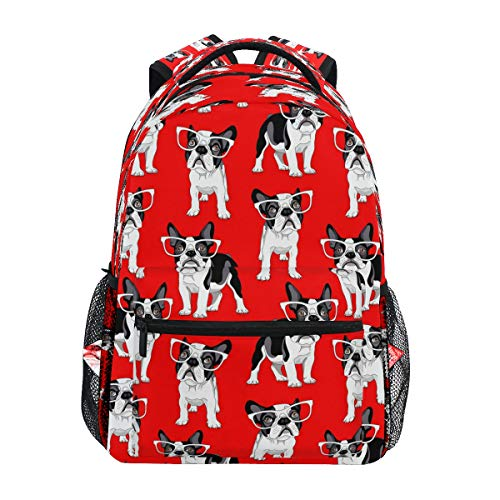 Laptop Backpack Boys Grils - Cartoon French Bulldog School Bookbags Computer Daypack for Travel Hiking Camping