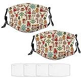 Nuberyl Lot de 2 masques de Noël unisexes en pain d'éginger-bread (13) avec bandana, cagoule, écharpe, cache-cou réglable, 4 filtres remplaçables, protection contre les UV et la poussière