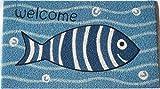 Zerbino da Esterno in Cocco con Base in PVC Dipinto a Mano Raffigurante Pesce Blu Sorridente Scritta Welcome 70X40X2 cm. Facile da Pulire e Ultraresistente