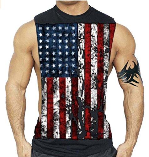 Interstate Apparel Inc American Flag Muscle Workout T-Shirt Bodybuilding Tank Top XS-3XL (L, Black)