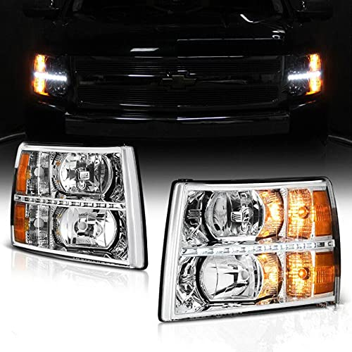 2Pack LED DRL Strip Clear Lens Chrome Housing Headlights Assembly Compatible For Chevy 2007-2013 Silverado 1500/2500HD/3500HD Headlamps
