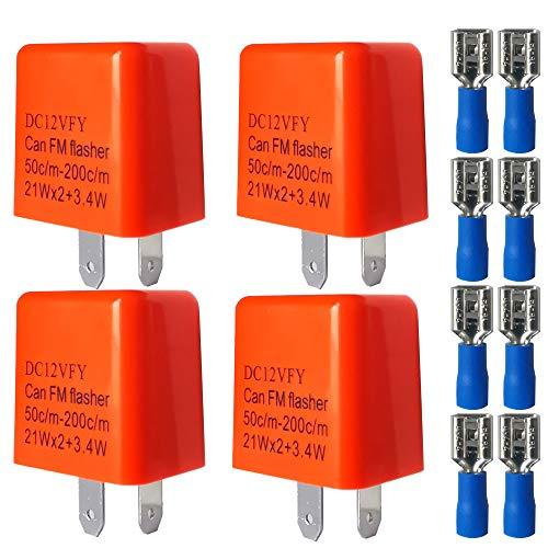 Gebildet 4pcs 12V 2 Pin Elettronico Relè Lampeggiante, Rele Con Regolatore Frequenza Lampeggio Frecce Led Indicatori di Direzione, Velocità Regolabile per Auto e Moto (Arancio)