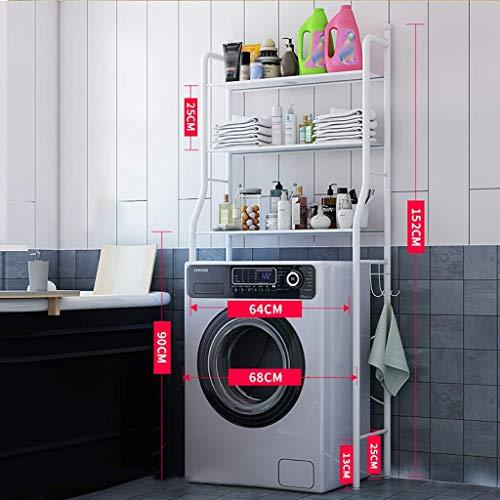 AISHANG Waschmaschinenregal Einfaches Waschmaschinenregal, Eisenwaschmaschinenregal, Badezimmertoilettenregal Waschmaschinenregal Organizer (schwarz, weiß) (Farbe: Weiß)