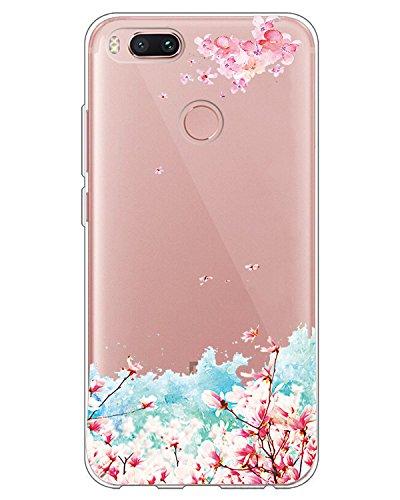 Suhctup Case Comaptible para Xiaomi Mi A1 / Mi 5X Funda Silicona Gel TPU Bumper Transparente Moda Lindo de Dibujos Antigolpes Carcasa Protección Anti-rasguños Ultra-Delgado Clear Cover,Flor Rosa