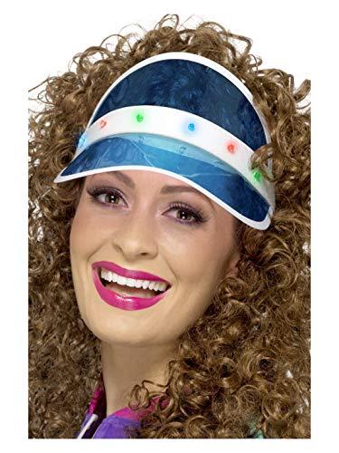 Halloweenia - Damen 80er Jahre Sonnenschutz Plastik Cappi mit LED Lichtern, perfekt für Karneval, Fasching und Mottopartys, Blau