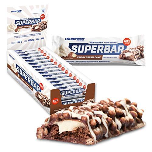 Energybody Superbar (Crispy Cream Cake) Protein-Riegel | 40% Eiweiß, 2 g Zucker | Viel Protein, zuckerarm | Für Low Carb Ernährung geeignet | 24 x 50 g