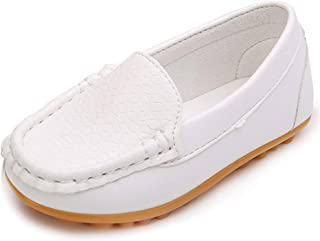Toddler Boys Girls Loafer Shoes Soft Synthetic Leather Slip On Moccasin Flat Boat Dress Shoes