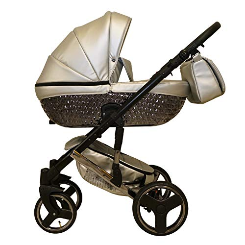 Lux4kids Tr/ío Cochecito 3 in 1 Silla de paseo ruedas fijas capazo silla para coche VIP Hecho en Europa Accesorios opcionales iCaddy Accessoires optionnels chocolate /& crema