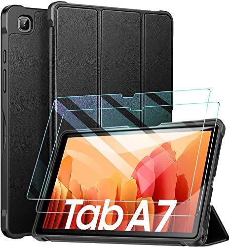 ZtotopHülle Schutzhülle für Samsung Galaxy Tab A7 10.4 2020, mit Zwei Bildschirmschutzfolien, Ultra dünn, leicht, dreifach faltbar, mit Standfunktion, Schwarz