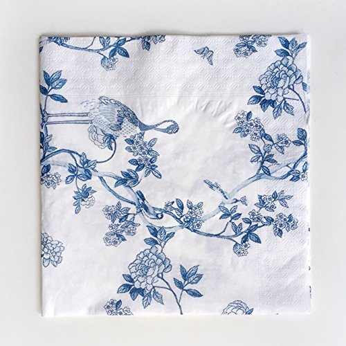 Colored Paper Napkins, 20 Count Shabby Chic Napkins for Wedding, Dinner Tea Party Shower (Blue and white porcelain)