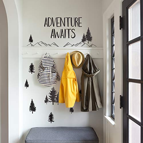 Wall Decal - Wall Decor - Inspirational Quote. Peel and Stick Wall Decals - Travel Wall Stickers - Easy to Remove Vinyl Quote - Adventure Awaits. DIY Decoration.