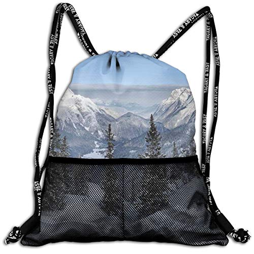 AZXGGV Drawstring Backpack Rucksack Shoulder Bags Gym Bag Sport Bag,Epic Winter Landscape with Snowy Pine Trees In Switzerland Woods Print