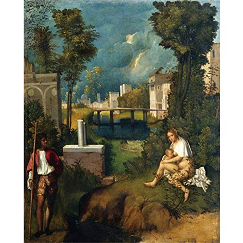 empty Canvas Painting《The Storm》Giorgione Artwork Picture Art Poster Wall Decor Modern Home Living Room Decoration 60x80cm No Frame