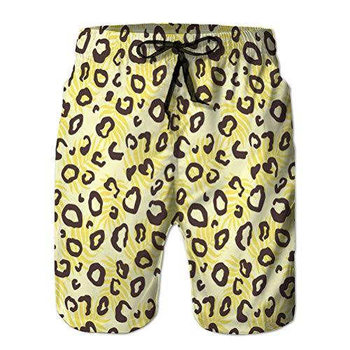 Mens Summer Swim Trunks Quick Dry Board Beach Shorts Animal léopard Texture de la Peau Motif imprimé XL