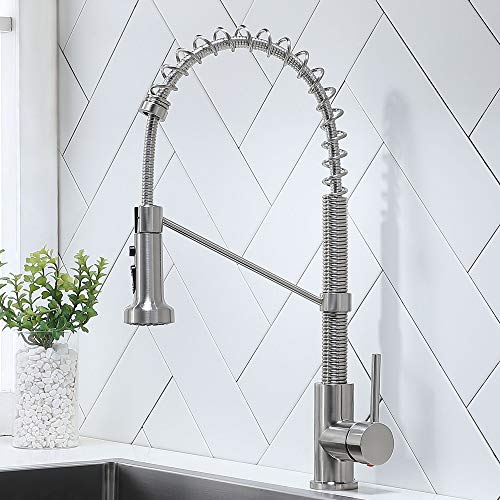 Ufaucet Modern Commercial Lead-Free Stainless Steel Single Handle Pull Down Sprayer Spring Kitchen Faucet, Brushed Nickel Kitchen Sink Faucets with Deck Plate