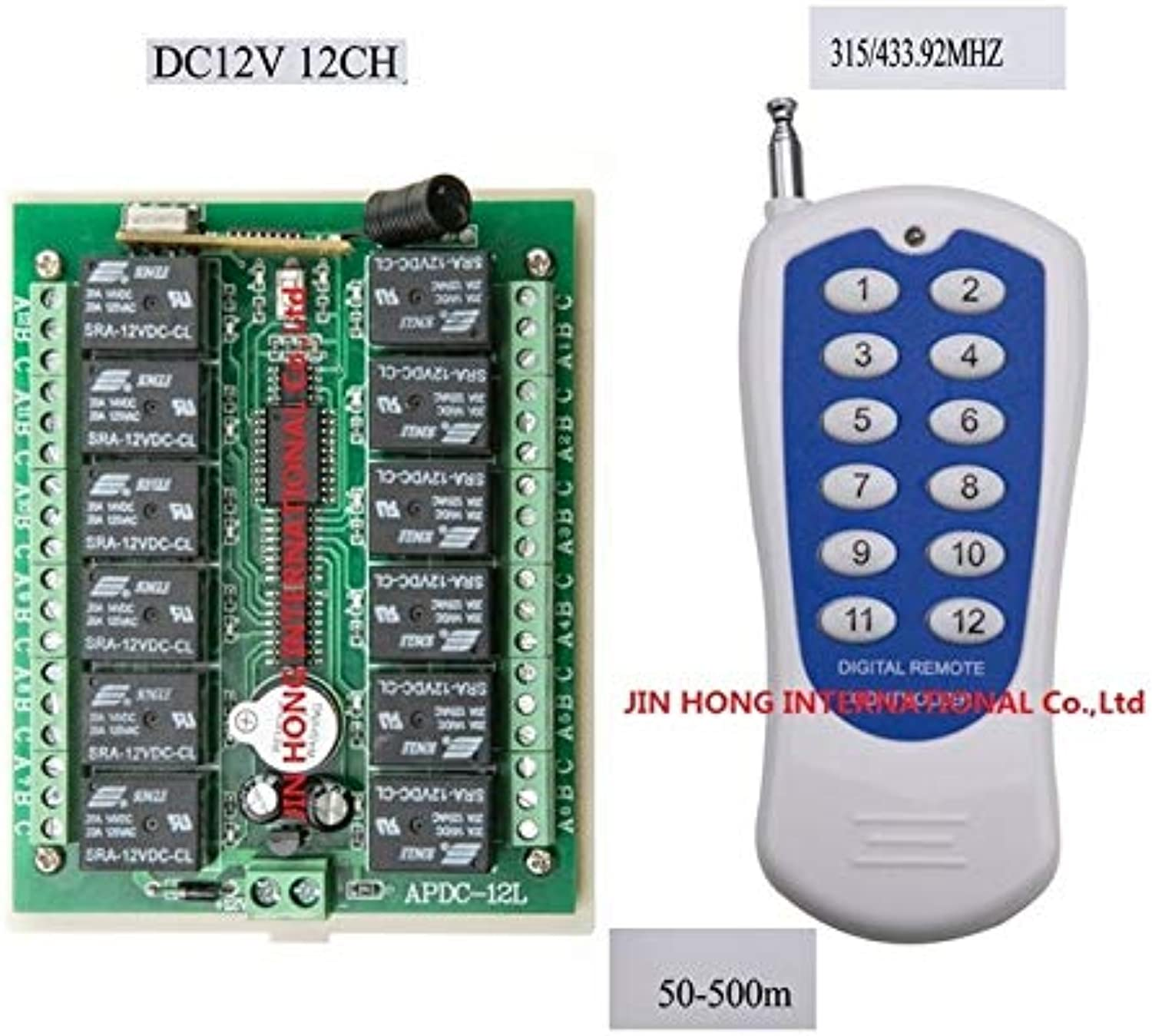 Work in 50500M DC12V 12CH RF Wireless Remote Control Switch System and Transmitter and Receiver Radio Controller