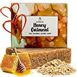 Oatmeal Honey Goat Milk Soap - Organic Exfoliating Skincare Bar for Face & Body. Also Dry Skin. 100% Natural Face & Body Wash. Coconut & Olive Oil + Shea Butter.Unique Gift Ideas for Women,Men & Teens