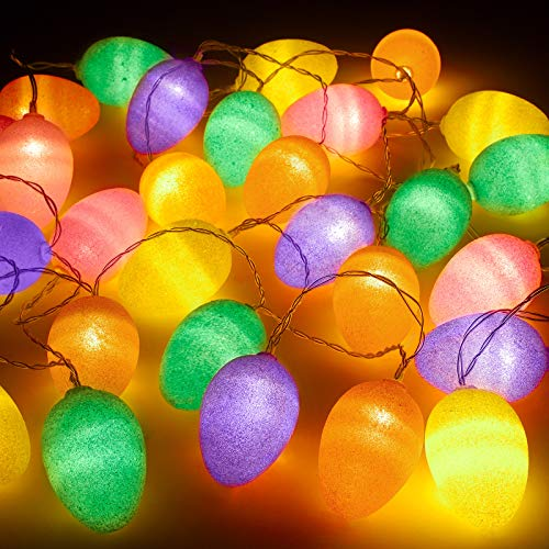 Elcoho 13.2 Feet 30 Lights Easter Eggs LED String Lights Bright Color Glitter Easter Egg Decoration for Easter Decoration Home Tree Banister Party