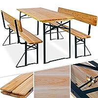 Platz für bis zu 8 Personen: Die 3tlg. Holzgarnitur besteht aus einem großen Tisch + zwei Bänke mit abnehmbaren Rückenlehnen. Klappfunktion Tisch und Bänke zusammenklappbar - daher bei Bedarf schnell aufzubauen und hinterher wieder platzsparend zu ve...