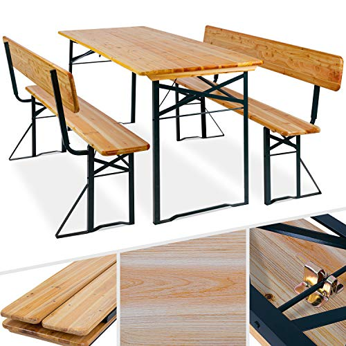 Kesser® Bierzeltgarnitur mit lehne & breiter Tisch 170x70cm | 3 teilig Gartenmöbel-Set | Klappbar 2X Bierbänke mit Rückenlehne 1x Biertisch | Festzeltgarnitur Biertisch Stehtisch Sitzgarnitur Holz