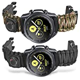 Onewly Compatible with Galaxy Watch 3 41mm/Galaxy Watch 42mm Band,20mm Multi-Functional Outdoor Survival Umbrella Rope Watch Strap for Active 2 40mm/44mm Ticwatch E/2/Vivoactive 3 Band