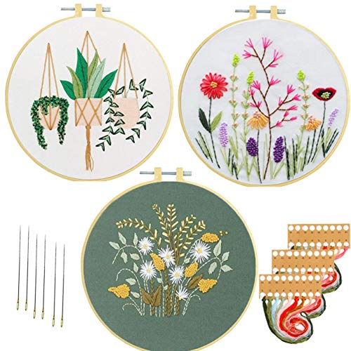 Embroidery Beginner Kits for Adults Kids Nuberlic 3 Pack Cross Stitch Starter Kit with Pattern Craft Stamped Embroidery Cloth Hoops Threads Needles