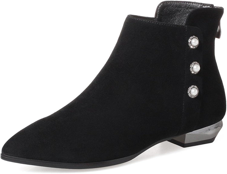 CHENSIR9 Women's Side Zipper Sheepskin Boot Suede Sheepskin Ankle Booties