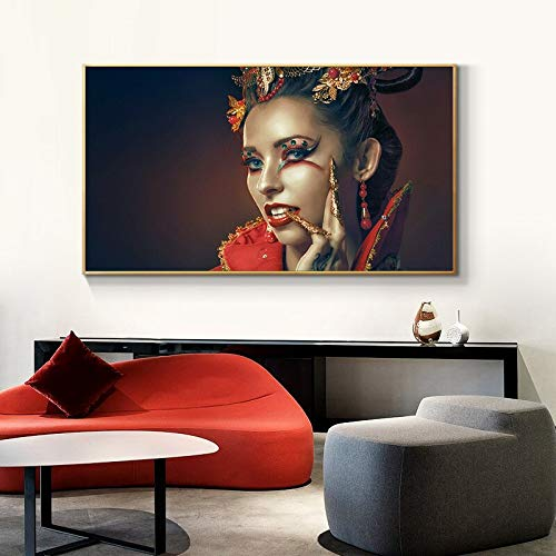 wZUN Moda Labios Rojos Mujer Figura Pintura Arte de la Pared Lienzo Carteles e Impresiones escandinavos Sala de Estar Cuadro de Arte de Pared Moderno 50x100cm