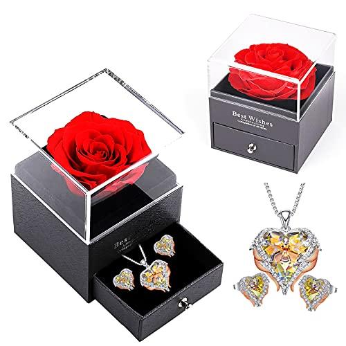 WNING Eternal Rose, regalo para mujer, rosa roja con collar y aretes, juegos de joyas, regalo de cumpleaños/aniversario para madre, esposa, hermana, novia con caja de regalo de rosa preservada