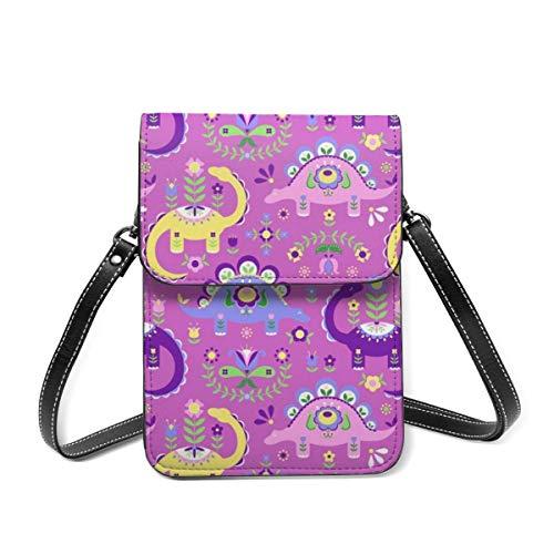 Kleine Umhängetasche, Folk-Kunst Dinosaurier Pink Lila Dunkel Crossbody Tasche Handy Geldbörse Geldbörse Leichte Crossbody Handtaschen für Frauen Mädchen