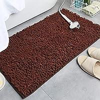 シャギーラグ、滑り止めの底と厚いぬいぐるみを備えた柔らかいふわふわの長方形のカーペット、バスルーム/キッチン/戸口吸収マット用,ブラウン,45x70cm