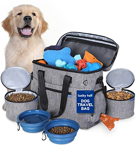 Dog Travel Bag for Supplies by Lucky Tail - Set Includes Pet Travel Bag Organizer for Accessories, 2 Collapsible Dog Bowls, 2 Travel Dog Food Container - Ideal Dog Travel Kit for a Weekend Away