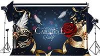 HD ビニール7X5FTカーニバルパーティーの背景卒業パーティーのお祝いの背景ゴールデンマスクボール新鮮な赤いバラの花ボケスパンコール写真背景仮面舞踏会フォトスタジオの小道具KX753
