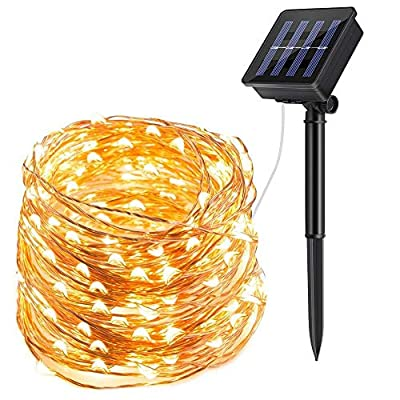 ECOWHO Solar String Lights Outdoor, 72ft 200 LED Solar Powered Fairy Lights Waterproof Decorative Lighting for Patio Garden Yard Party Wedding (Warm White)
