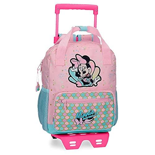 Disney Minnie Mermaid Zainetto asilo con carrello Rosa 23x28x10 cms Poliestere 6.44L