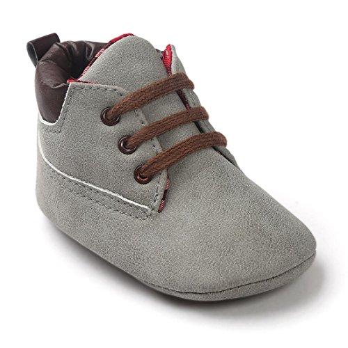 FNKDOR Baby Mädchen Jungen Lauflernschuhe rutschfest Weiche Schuhe für Neugeborene 0-18 Monate (12-18 Monate, Grau)