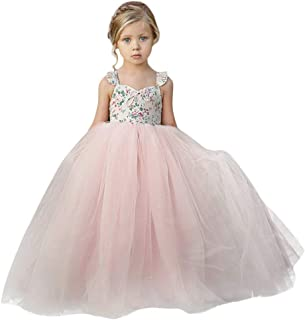Moika Girls' Princess Dresses, (1-7 Years) Bridesmaid Dresses for Girls Flowers Wedding Dress Sleeveless Pageant Lace Tulle Carnival Evening Dress Kids Party Wedding Dress