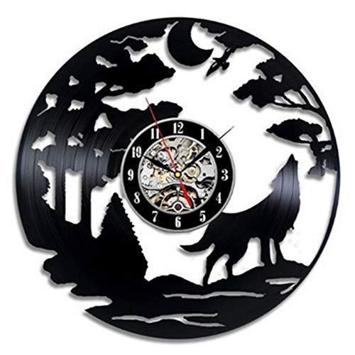 Retro Vinyl Schallplatte Wanduhr Modernes Design 3D Tier Wolf Thema Vinyl CD Uhr Künstler Home Decor 12