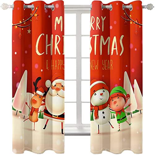 KLily Impresión Digital 3D Serie del Día De Navidad Cortinas Perforadas A Través del Método De Instalación De La Varilla Cortinas Opacas Engrosadas Pared del Dormitorio De La Casa del Hotel Fondo