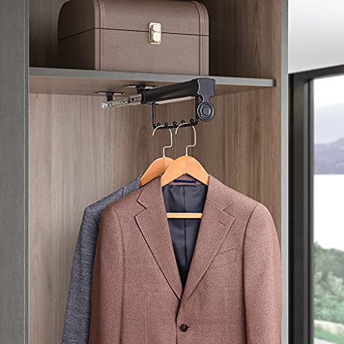 Ausziehbare Kleiderstange, 26-60cm Kleiderschrankstange Schwarz, Kleiderschrank Kleiderbügel, Last 25 kg (Size : 257mm/10.1inch)