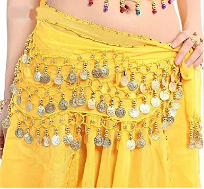 OPCC Belly Dance Hip Skirt Scarf Wrap Belt costume with Rows Gold Coins (yellow)
