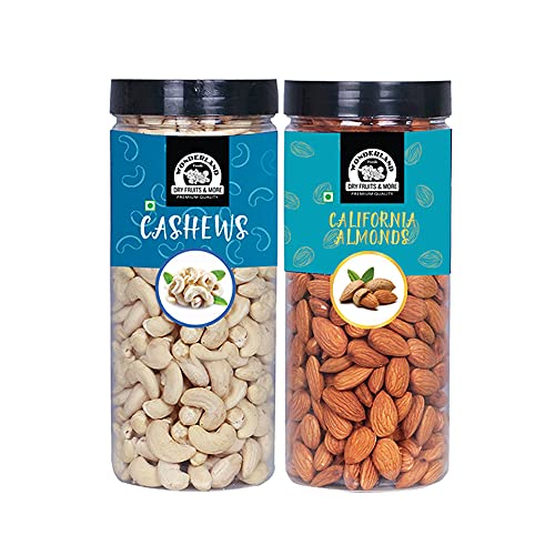 WONDERLAND FOODS (DEVICE) Premium Dry Fruits Combo Pack of Almonds (NP) & Cashews (W320) (500g Each), 1 Kg
