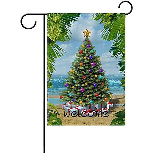 jiaxingdalin Polyester-Garten-Flagge, willkommene Weihnachtsbaum-Strand-Tropische Blatt-Feiertags-Flagge für Dekoration des Partei-Ausgangsim Freien
