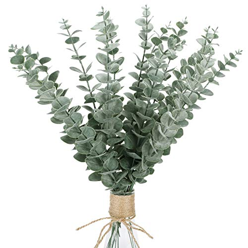 "FUNARTY 15 Pcs Real Touch Artificial Eucalyptus Leaf Stem 15"" Tall for Faux Eucalyptuses Wedding Bouquet Centerpiece Home Decor (Green)"