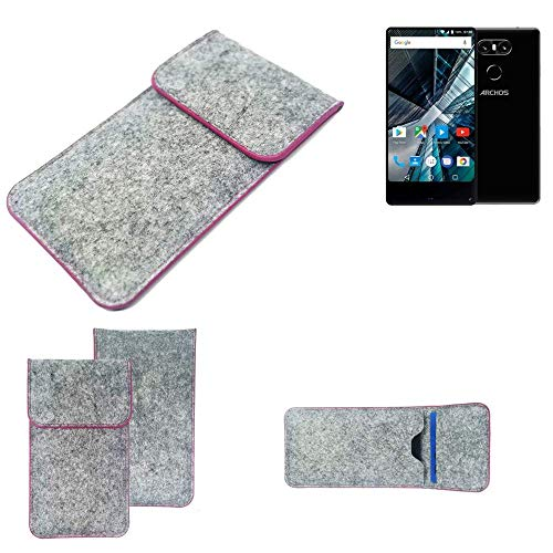 K-S-Trade® Handy Schutz Hülle Für Archos Sense 55 S Schutzhülle Handyhülle Filztasche Pouch Tasche Case Sleeve Filzhülle Hellgrau Pinker Rand