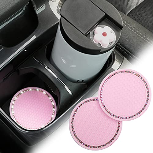 2 Pack Car Cup Holder Coaster, 2.75 Inch Bling Soft Rubber Pad Set Round Auto Cup Holder Insert Drink Coaster Car Interior Accessories