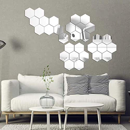 24 Pieces Removable Acrylic Hexagonal Mirror Wall Sticker Decal for Home Living Room Bedroom Decor Art DIY Home Decoration Silver