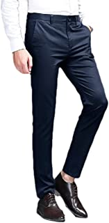Howely Men Business Solid Slim-Fit Straight-Fit Relaxed Plain Front Pant